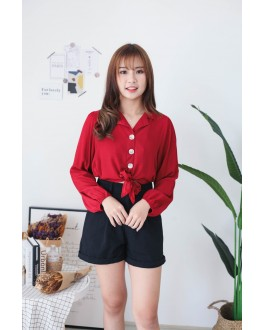 Korea V Collar Button Front Self Tie Ribbon Blouse (Maroon)