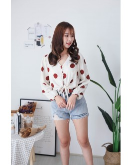 Korea Polka Dot Button Front Ribbon Tie Long Sleeve Top (Brick)