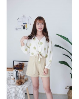 Korea Polka Dot Button Front Ribbon Tie Long Sleeve Top (Green)