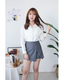 Korea Big Button High Waist Wide Leng Skort  (Grey)