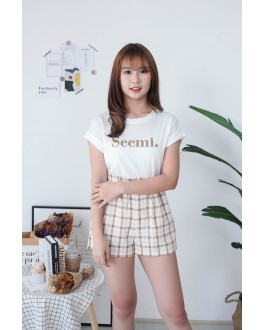 Korea Seemi Tee + Rubber Short Pant [Set] (Brown)