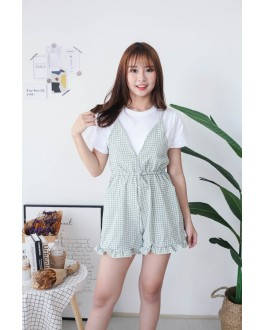 Korea Basic Short Sleeve Top + Checks Jumpsuit [Set] (Green)