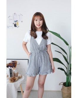 Korea Basic Short Sleeve Top + Checks Jumpsuit [Set] (Black)