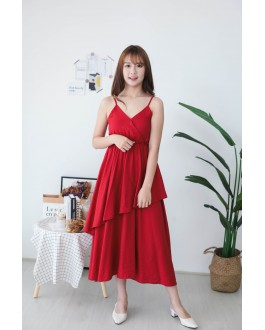 Korea Basic Layered Sleeveless Dress (Red)