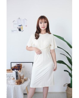 Korea Basic Cross Waist Tie Elastic Dress (Beige)