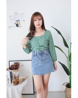 Korea Checks Rubber Waist Long Sleeve Top (Green)