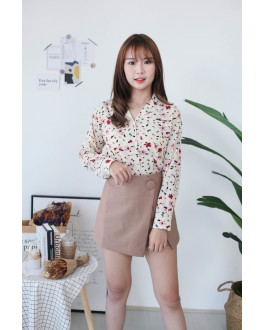 Korea Flower Button Front Long Sleeve Chiffon Blouse (Beige)