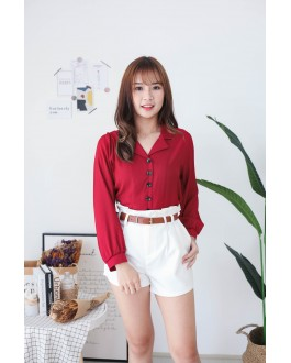 Korea Button Front V Collar Long Sleeve Blouse (Maroon)