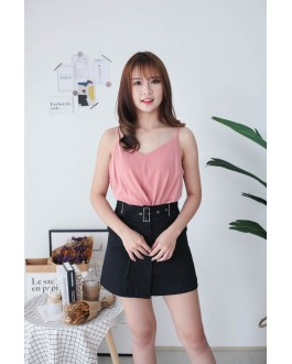 Korea Knot  V Neck Adjustable Strap Sleeveless Top (Dark Pink)