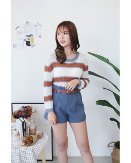 Korea Sweety Color Stripe Long Sleeve Knit Top (White)