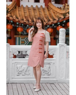 Korea Improved Checks Cheongsam Chiffon Short Sleeve Dress (Red)