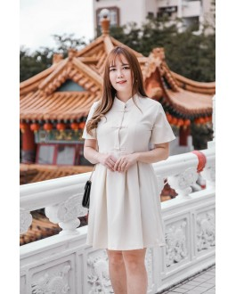 Bella Improved Cheongsam Short Sleeve Dress (Beige)