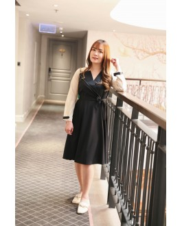 Korea Fake Two Piece Buckle Windbreaker Style Long Sleeve Midi Dress With Belt (Black)