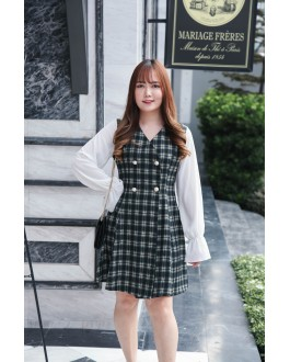 Korea Checks V Neck Double Pearl Button Chiffon Long Sleeve Dress (Green)