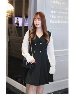 Korea V Neck Double Pearl Button Chiffon Long Sleeve Dress (Black)