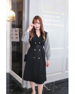 Korea Buckle Windbreaker Style Checks Long Sleeve Dress With Belt (Black)