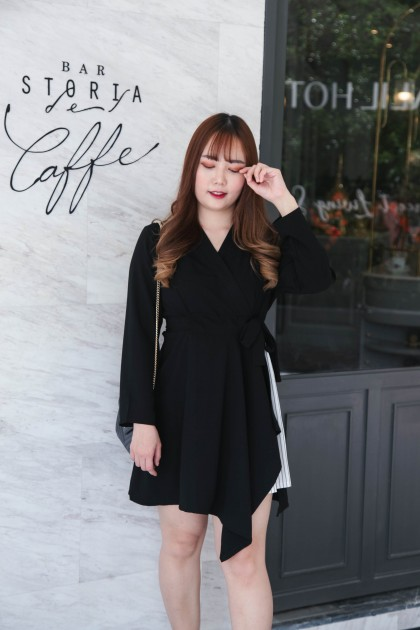 Korea V Neck Stripe Trim Long Sleeve Dress With Ribbon Tie (Black)