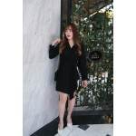 Korea V Neck Stripe Trim Long Sleeve Dress With Ribbon Tie (Black) - BACKORDER ETA 10 JAN