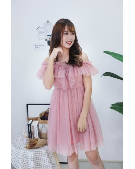Korea Lace Up Cold Shoulder Adjustable Strap Mess Dress (Pink)
