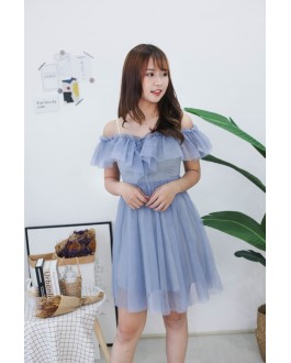 Korea Lace Up Cold Shoulder Adjustable Strap Mess Dress (Blue)
