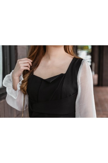 Korea Cross Waist Design Chiffon Trim Long Sleeve Dress (Black)