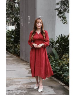 Korea Polka Dot Elastic Slim Waist Design Long Sleeve Midi Dress (Maroon)