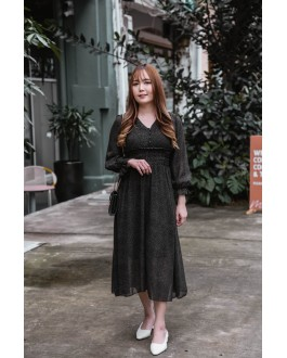 Korea Polka Dot Elastic Slim Waist Design Long Sleeve Midi Dress (Black)
