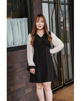 Korea OL Style V Neck Double Button Long Sleeve Dress (Black)