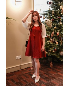 Korea Button Front V Neck Chiffon Elbow Length Sleeve Dress (Maroon)