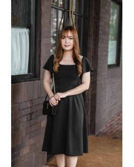 Korea Off Shoulder & Wide Shoulder Two Ways Wear Long Dress (Black)
