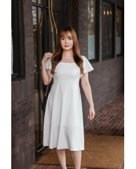 Korea Off Shoulder & Wide Shoulder Two Ways Wear Long Dress (White)