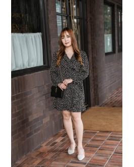 Korea Flora Style V Neck Chiffon Self Tie Dress  (Black)