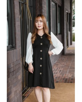 Korea Button Front V Neck Chiffon Long Sleeve Dress (Black)
