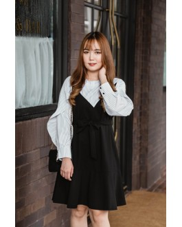 Korea Fake Two Piece Stripe & Black Long Sleeve Dress With Belt (Black)