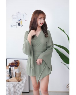 Korea Chiffon Cross Waist Design Long Sleeve Top + Chiffon Rubber Wide Leg Pant [Set] (Green)