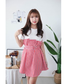 Korea Fake Two Piece Checks Oversize Dress With Belt (Red)