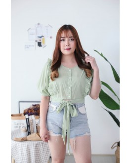 Korea Ruffle Style Button Front Ribbon Tie Waist Top (Green)