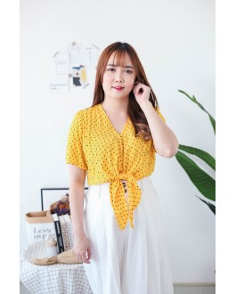 Korea Square Dot Button Front Ribbon Tie Waist Top (Mustard)