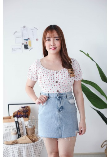 Korea Small Flower Button Front Rubber Back Short Sleeve Top (White)