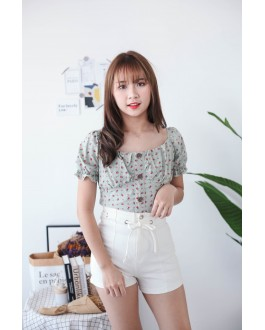 Korea Small Flower Button Front Rubber Back Short Sleeve Top (Green)