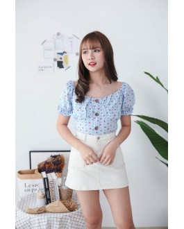 Korea Small Flower Button Front Rubber Back Short Sleeve Top (Blue)