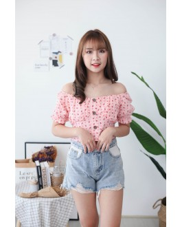 Korea Small Flower Button Front Rubber Back Short Sleeve Top (Pink)