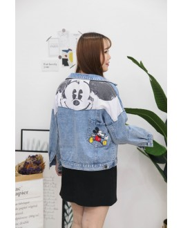 Korea Mickey Denim Oversize Jacket  (Blue)