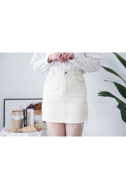 Korea Basic Double Pocket A Line High Waist Denim Skirt (Beige)