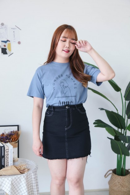 Korea Basic Double Pocket A Line High Waist Denim Skirt (Black)