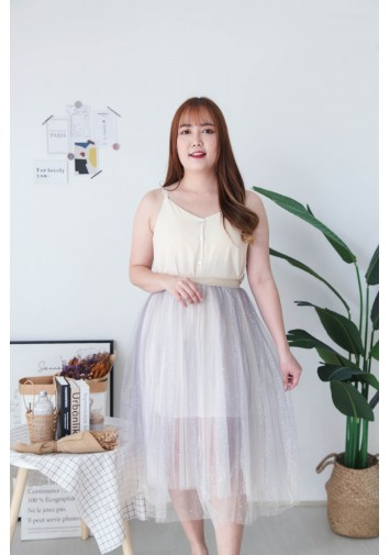Korea Bling Bling Gradient Color Tulle Skirt  (Grey)