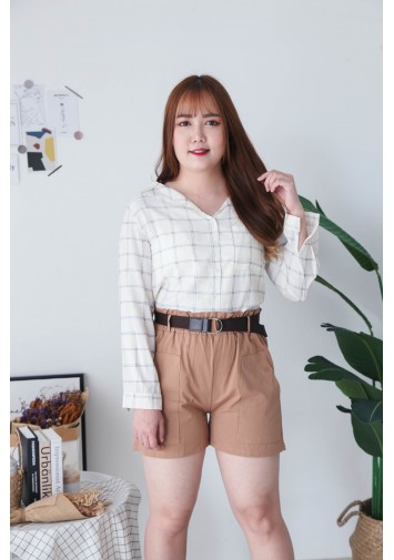 Korea Double Pocket Rubber Short Pant With Belt (Brown)