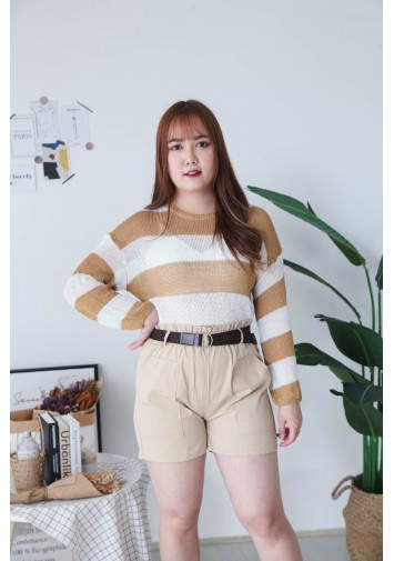 Korea Double Pocket Rubber Short Pant With Belt (Khaki)