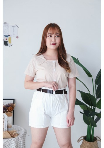 Korea Double Pocket Rubber Short Pant With Belt (White)