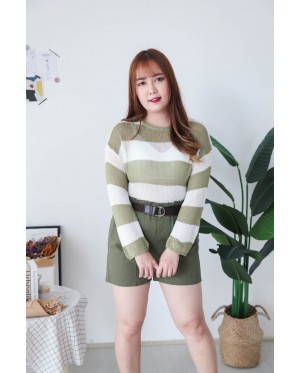 Korea Double Pocket Rubber Short Pant With Belt (Army Green)